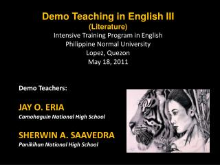 Demo Teaching in English III (Literature) Intensive Training Program in English