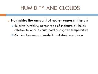 HUMIDITY AND CLOUDS