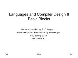 Languages and Compiler Design II Basic Blocks