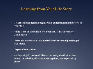 Learning from Your Life Story
