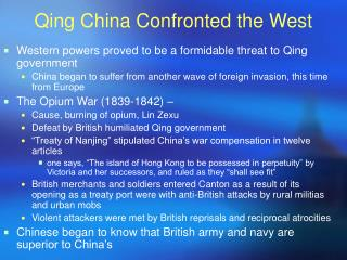 Qing China Confronted the West