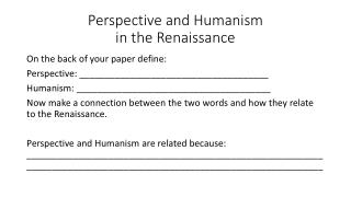 Perspective and Humanism in the Renaissance