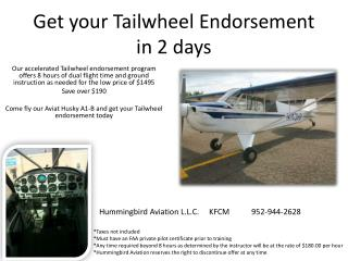 Get your  Tailwheel  Endorsement in 2 days