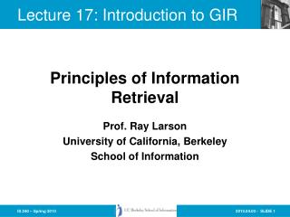 Lecture  17:  Introduction to GIR