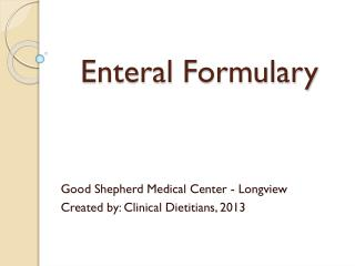 Enteral  Formulary