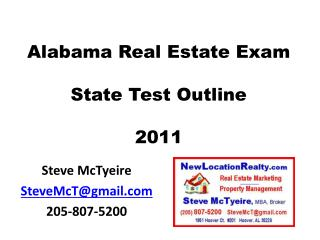 Alabama Real Estate Exam State Test Outline 2011