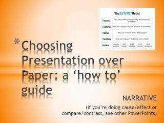 Choosing Presentation over Paper: a 'how to' guide