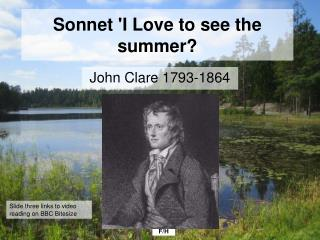 Sonnet 'I Love to see the summer?