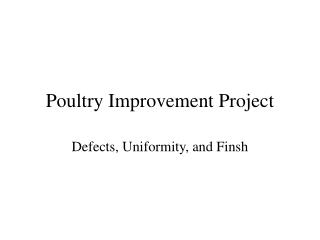 Poultry Improvement Project
