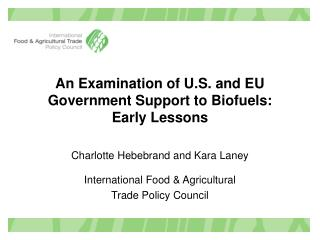 An Examination of U.S. and EU Government Support to Biofuels: Early Lessons