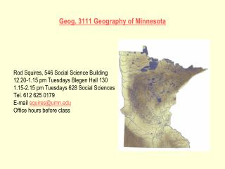 Geog. 3111 Geography of Minnesota