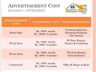 Advertisement  Cost (Contact :- 9772743847)