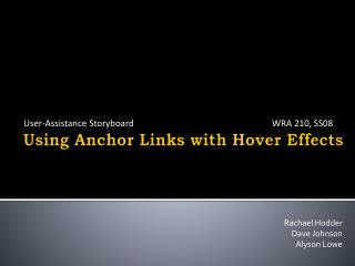 Using Anchor Links with Hover Effects