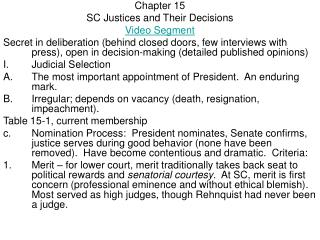 Chapter 15 SC Justices and Their Decisions Video Segment