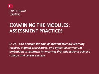 EXAMINING THE MODULES: ASSESSMENT PRACTICES