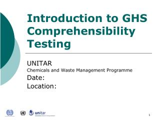 Introduction to GHS Comprehensibility  Testing