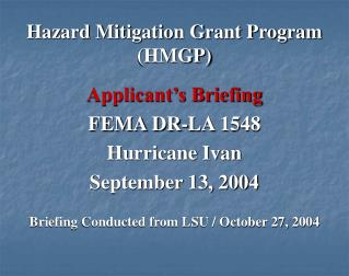 Hazard Mitigation Grant Program (HMGP)