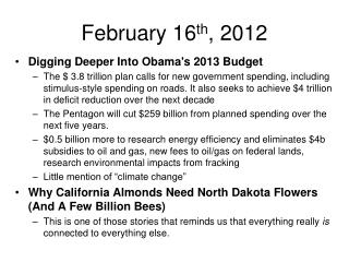 February 16 th , 2012