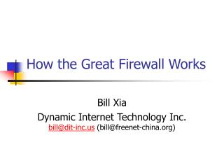 How the Great Firewall Works