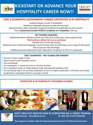 CERT 3 GUARANTEE GOVERNMENT FUNDED  CERTIFICATE III IN  HOSPITALITY