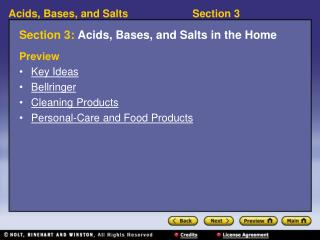 Section 3:  Acids, Bases, and Salts in the Home