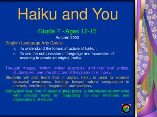 Haiku and You