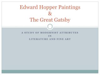 Edward Hopper Paintings & The Great Gatsby