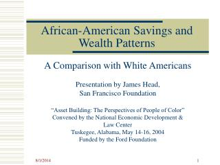 African-American Savings and Wealth Patterns