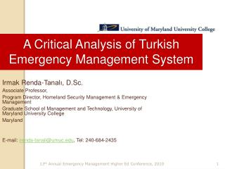 A Critical Analysis of Turkish Emergency Management System