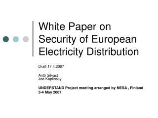 White Paper on Security of European Electricity Distribution