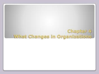 Chapter 4 What Changes in Organizations