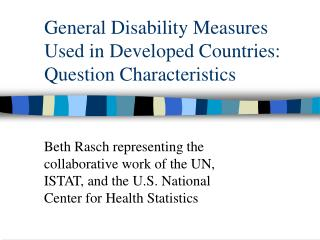 General Disability Measures Used in Developed Countries: Question Characteristics