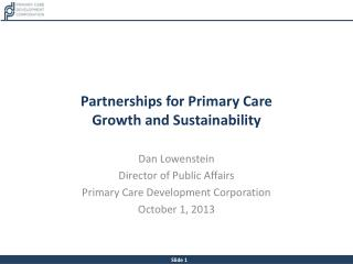 Partnerships for Primary Care  Growth and Sustainability