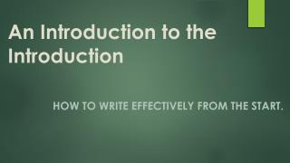 An Introduction to the Introduction