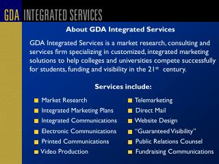 About GDA Integrated Services