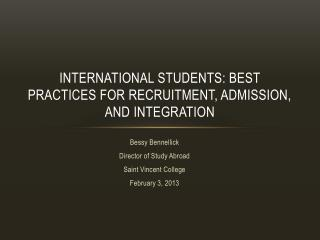 International students: Best practices for recruitment, admission, and integration