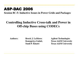 Controlling Inductive Cross-talk and Power in Off-chip Buses using CODECs