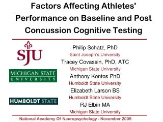 Factors Affecting Athletes' Performance on Baseline and Post Concussion Cognitive Testing