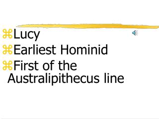 Lucy Earliest Hominid First of the  Australipithecus  line