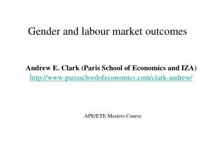 Gender and labour market outcomes