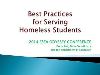 Best Practices  for Serving  Homeless Students