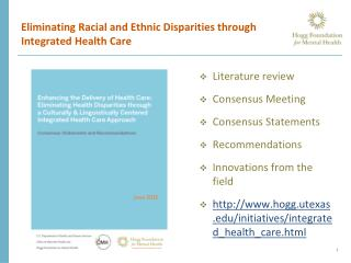 Eliminating Racial and Ethnic Disparities through Integrated Health Care