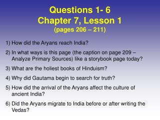 Questions 1- 6 Chapter 7, Lesson  1 (pages  206  –  211)