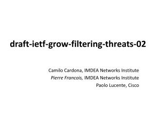 draft-ietf-grow- filtering-threats -02