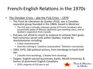 French-English Relations in the 1970s