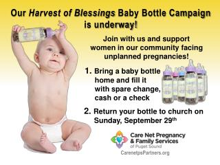 Join with us and support  women in our community facing unplanned pregnancies!