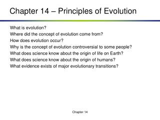Chapter 14 – Principles of Evolution