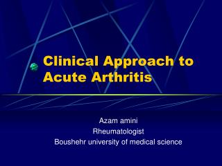 Clinical Approach to Acute Arthritis