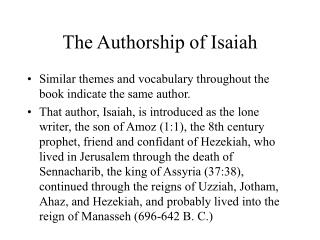 The Authorship of Isaiah
