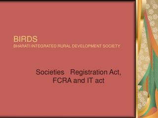 BIRDS BHARATI INTEGRATED RURAL DEVELOPMENT SOCIETY